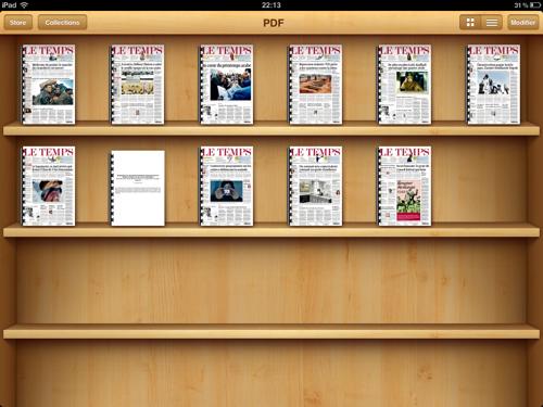 La bibliothèque virtuelle de l'iPad.
