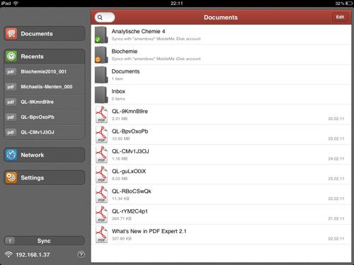 Documents, le dossier d'enregistrement source sur l'iPad.