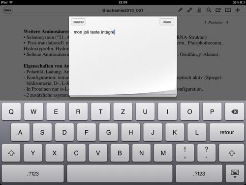 L'outil de saisie de texte intégré.