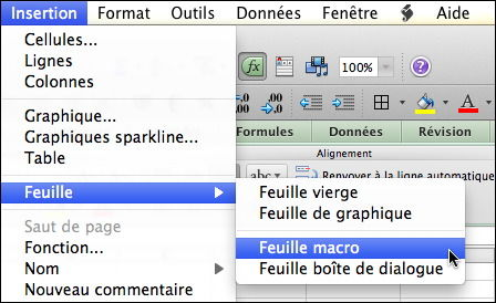 Insertion feuille macro