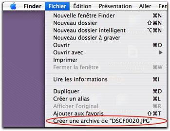 compression par menu finder