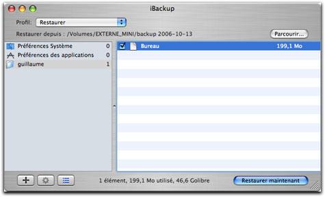 Restauration avec iBackup