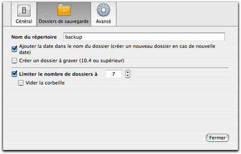 Paramètres iBackup