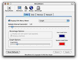 Menumeters pour surveiller votre mac for Fenetre utilitaire mac